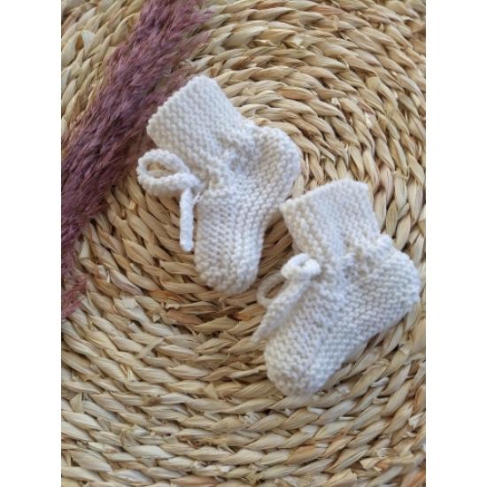 Babyslofjes white merinowol 0-3mnd